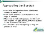 approaching the first draft