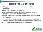 background significance
