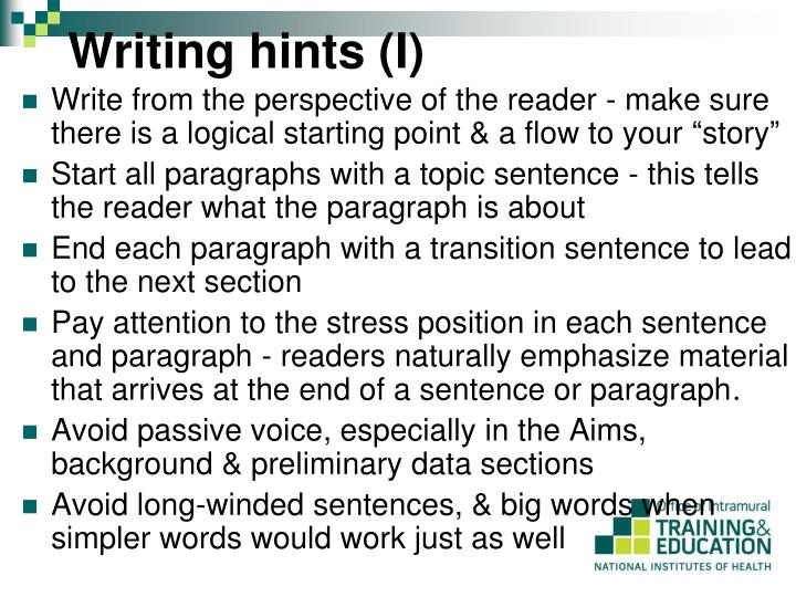 Writing hints (I)