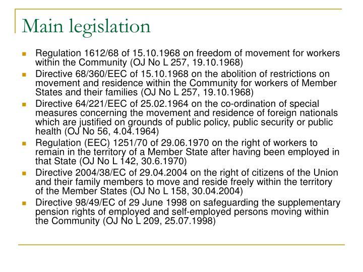Main legislation
