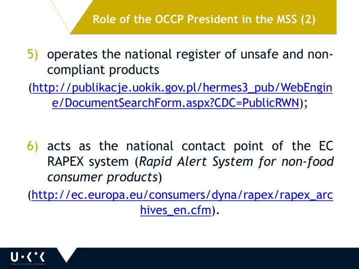 Role of the OCCP President in the MSS (2)