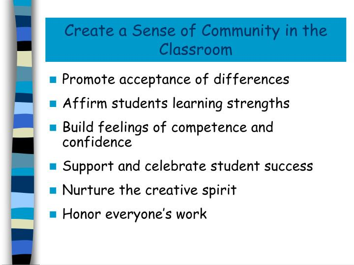 Create a Sense of Community in the Classroom
