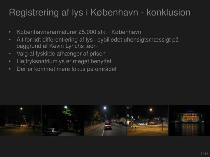 Registrering af lys i København - konklusion