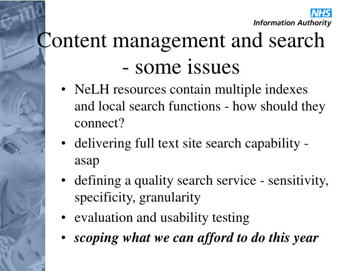 Content management and search - some issues