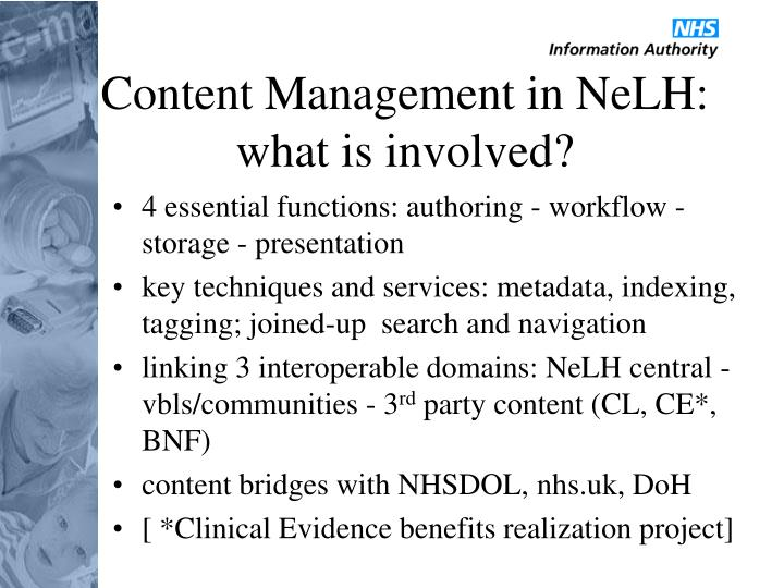 Content Management in NeLH: what is involved?