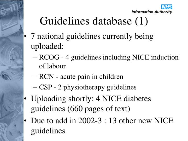 Guidelines database (1)