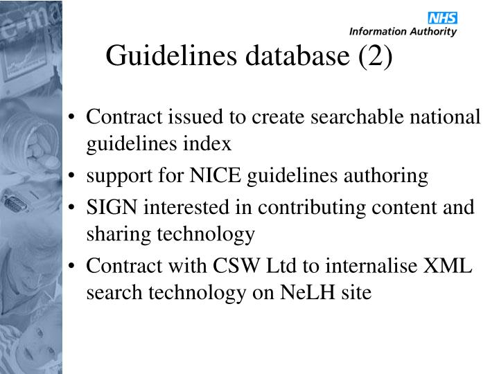 Guidelines database (2)