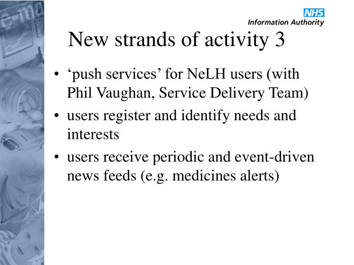 New strands of activity 3
