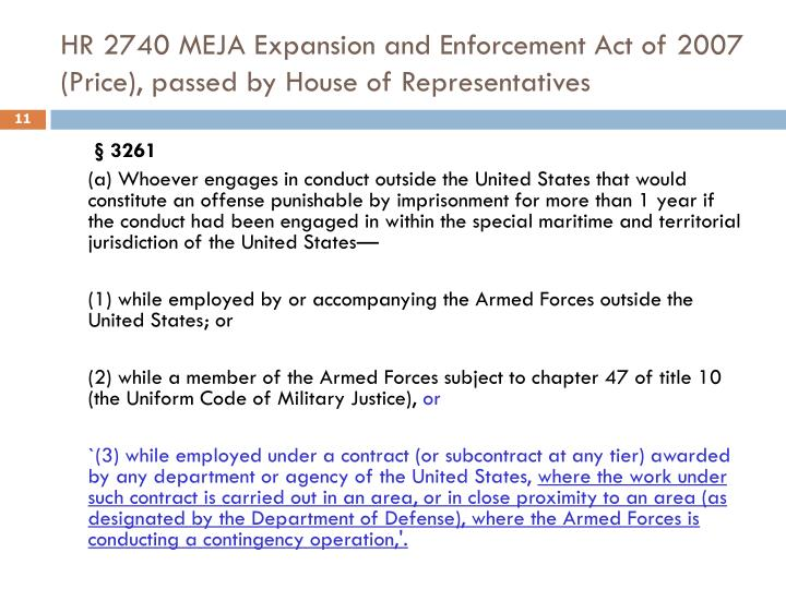 HR 2740 MEJA Expansion and Enforcement Act of 2007 (Price), passed by House of Representatives