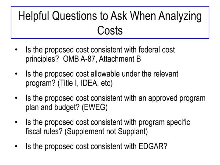 Helpful Questions to Ask When Analyzing Costs