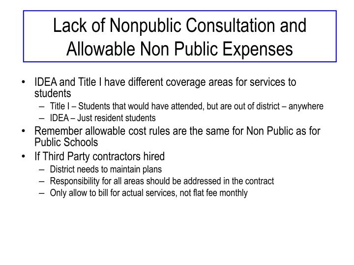 Lack of Nonpublic Consultation and Allowable Non Public Expenses