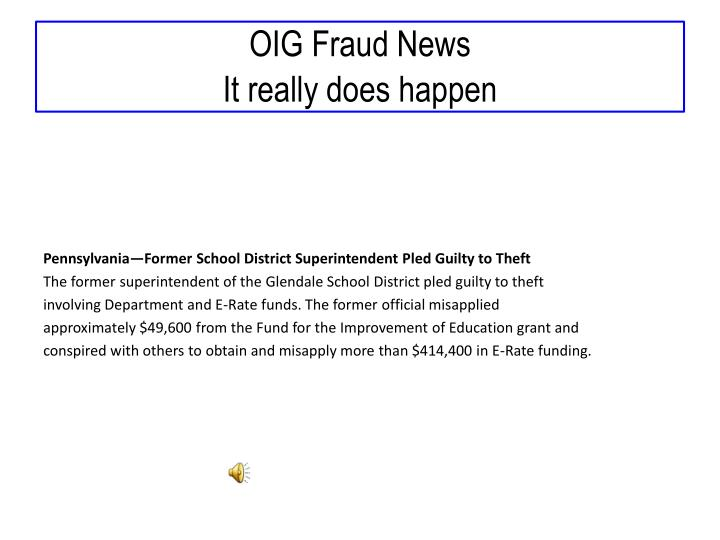 OIG Fraud News