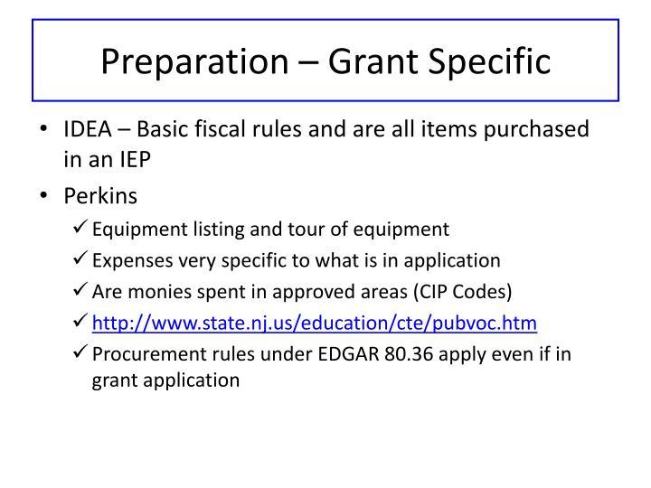 Preparation – Grant Specific