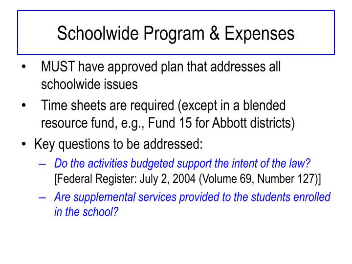 Schoolwide Program & Expenses