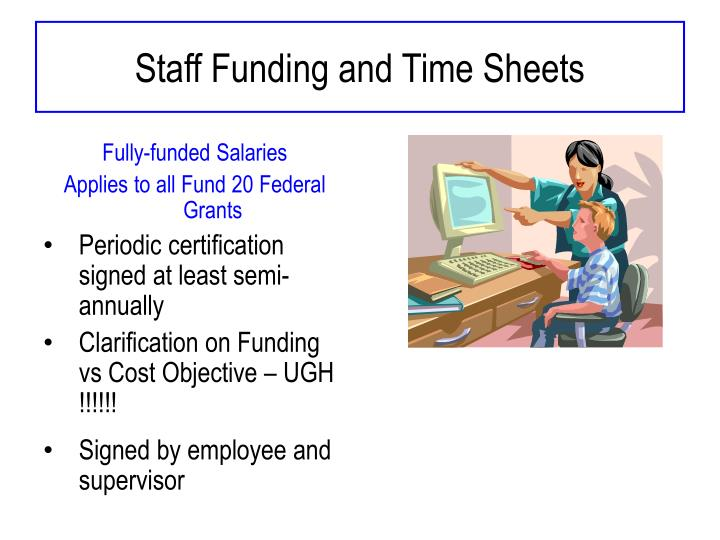 Staff Funding and Time Sheets