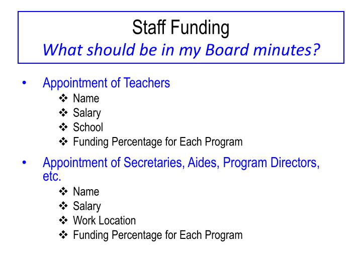 Staff Funding
