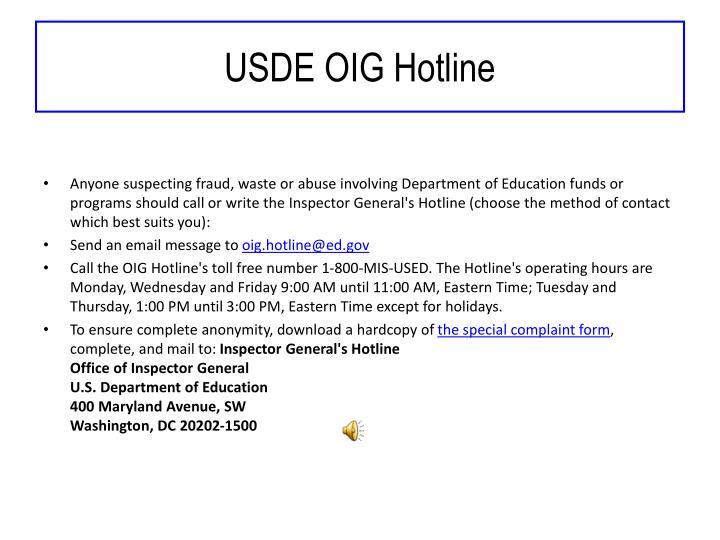 USDE OIG Hotline