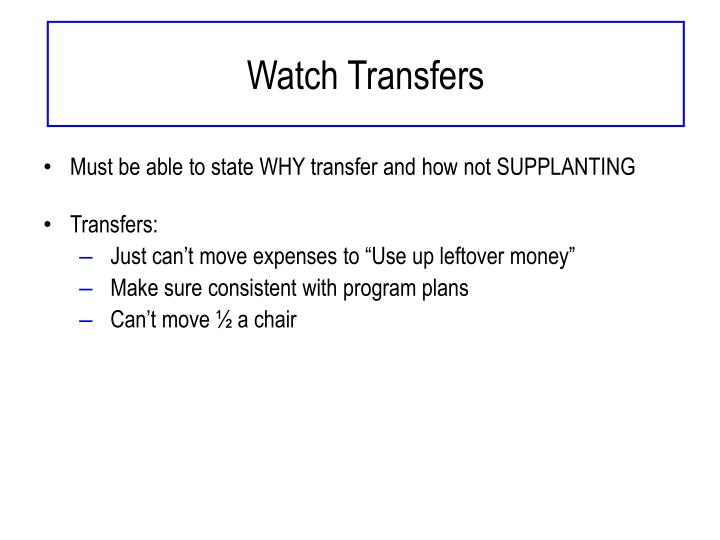 Watch Transfers