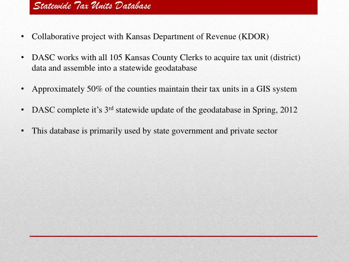 Statewide Tax Units Database