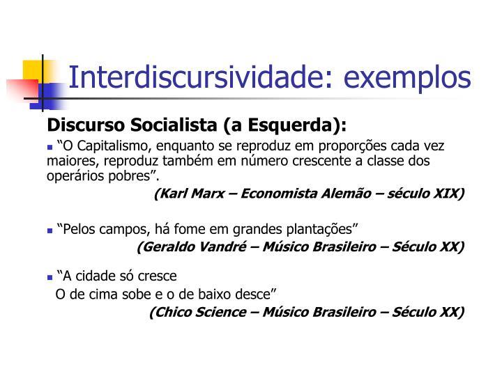 Interdiscursividade: exemplos