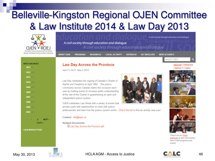 Belleville-Kingston Regional OJEN Committee & Law Institute 2014 & Law Day 2013