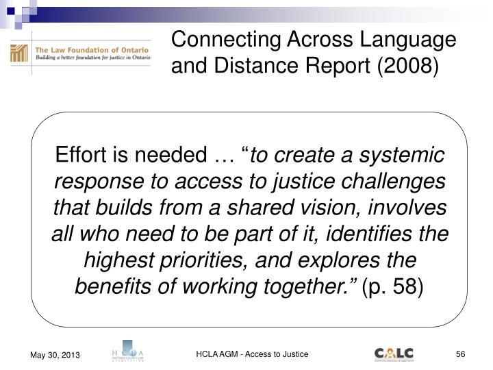 Connecting Across Language and Distance Report (2008)