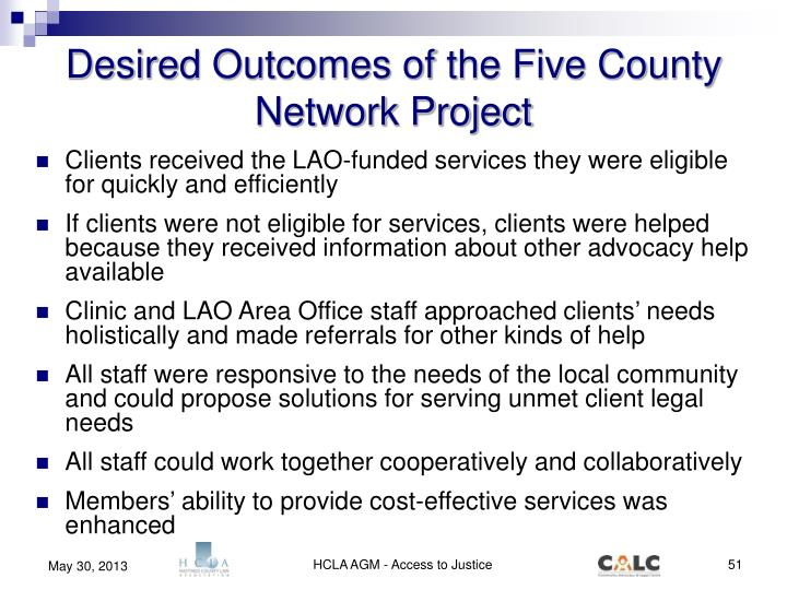 Desired Outcomes of the Five County Network Project
