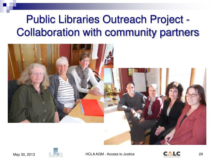 Public Libraries Outreach Project -  Collaboration with community partners