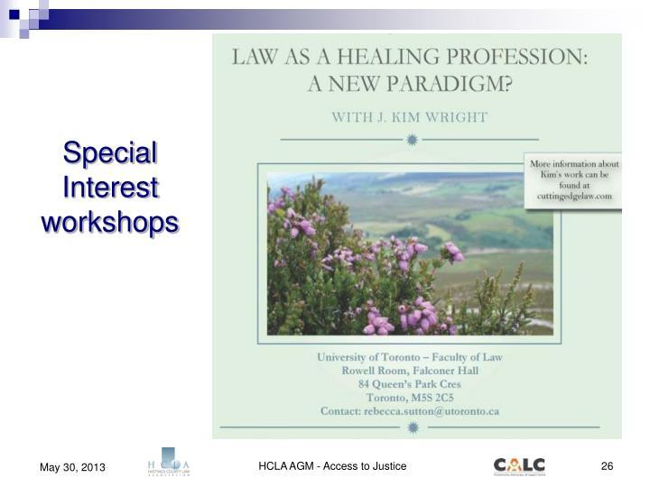 Special Interest workshops