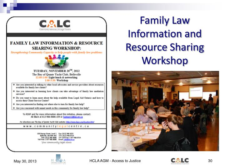 Family Law Information and Resource Sharing Workshop