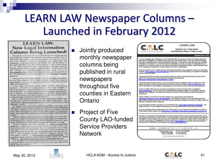 LEARN LAW Newspaper Columns – Launched in February 2012