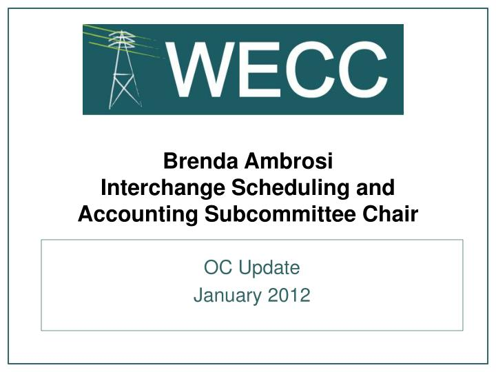 Brenda ambrosi interchange scheduling and accounting subcommittee chair