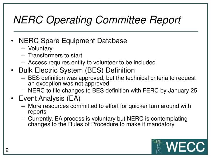 Nerc operating committee report