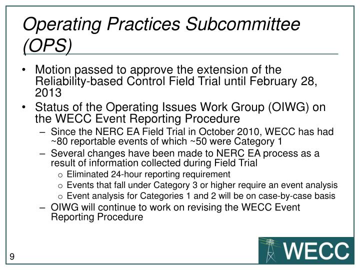 Operating Practices Subcommittee (OPS)