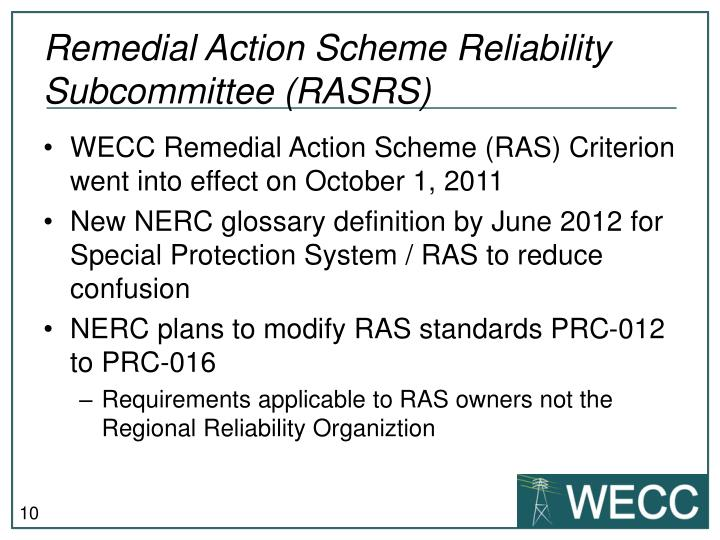 Remedial Action Scheme Reliability Subcommittee (RASRS)