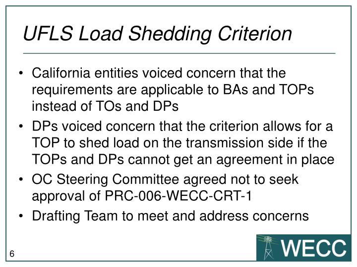 UFLS Load Shedding Criterion