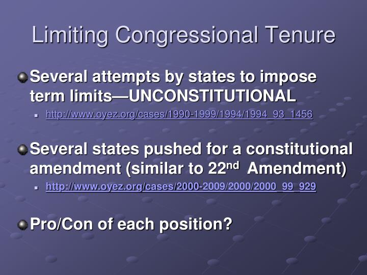 Limiting Congressional Tenure