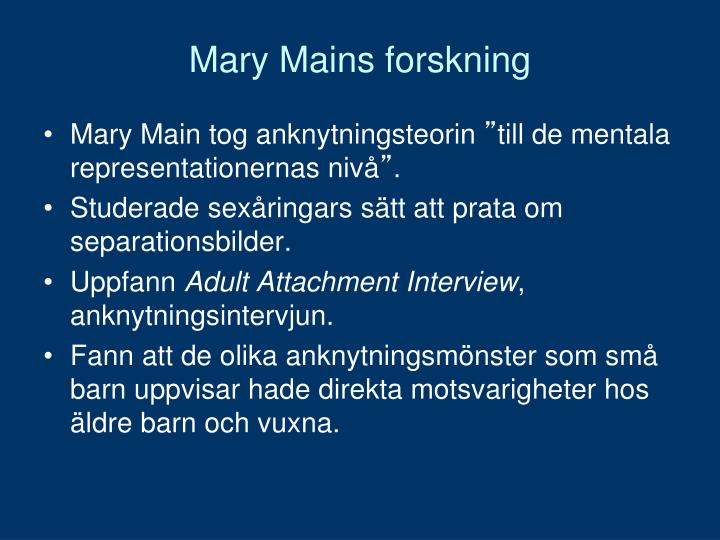Mary Mains forskning