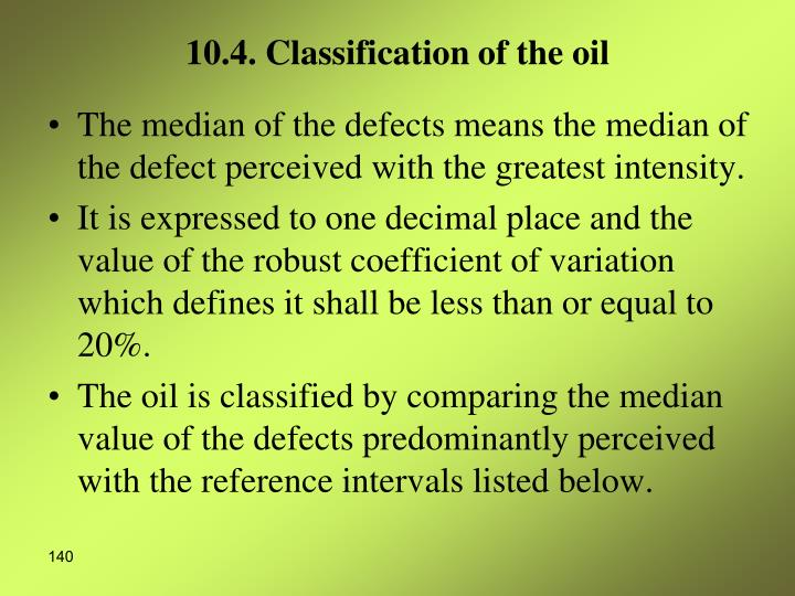 10.4. Classification of the oil