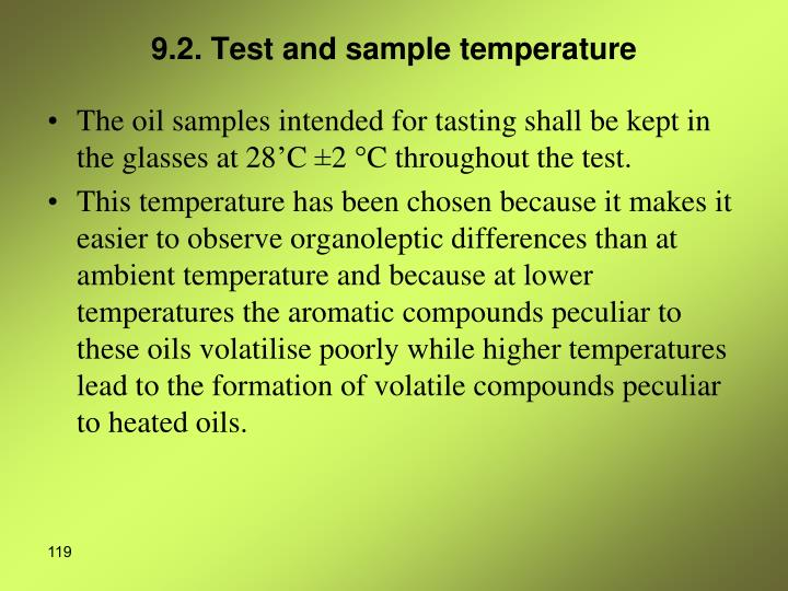 9.2. Test and sample temperature