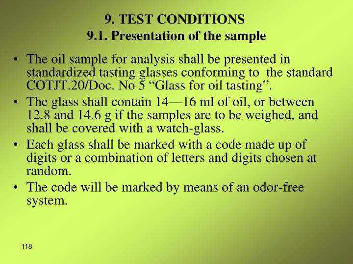 9. TEST CONDITIONS