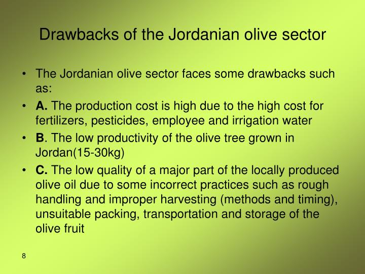 Drawbacks of the Jordanian olive sector