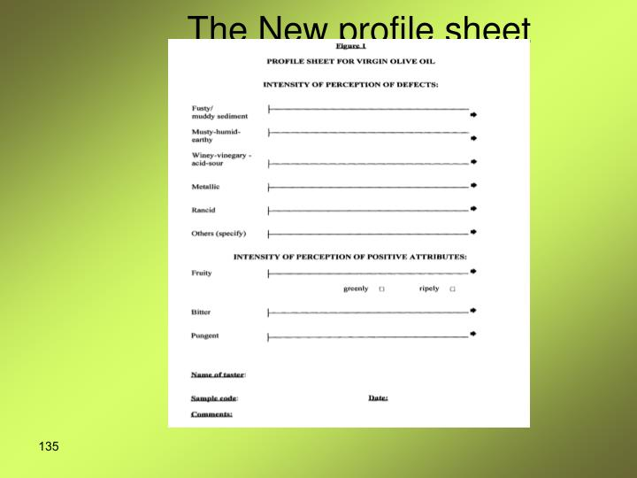 The New profile sheet