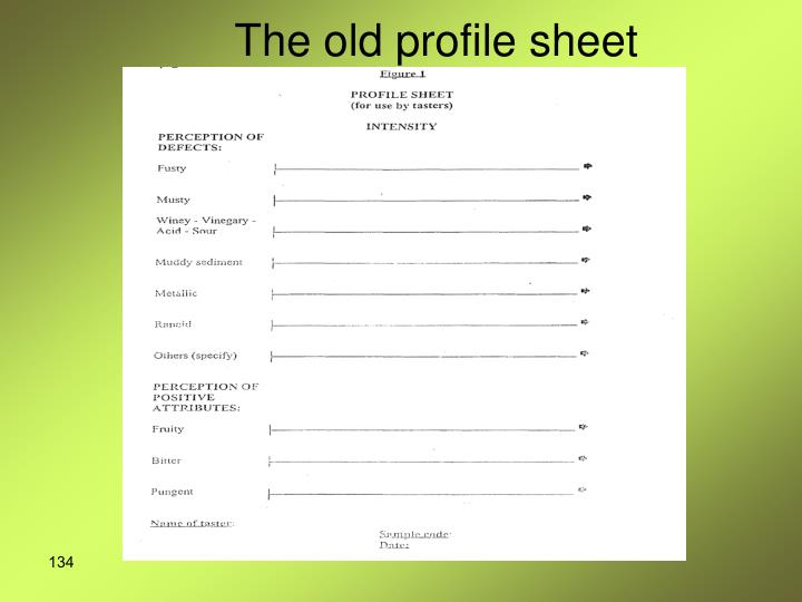 The old profile sheet