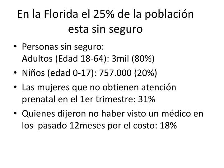 En la Florida el 25% de la población esta sin seguro