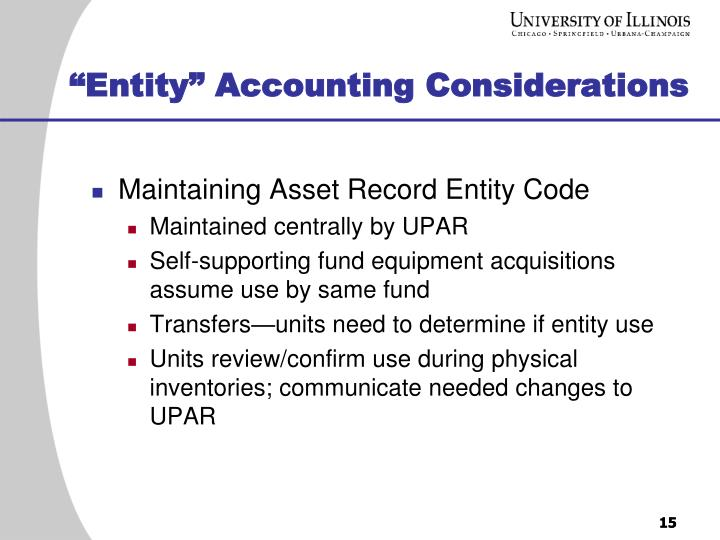 """Entity"" Accounting Considerations"