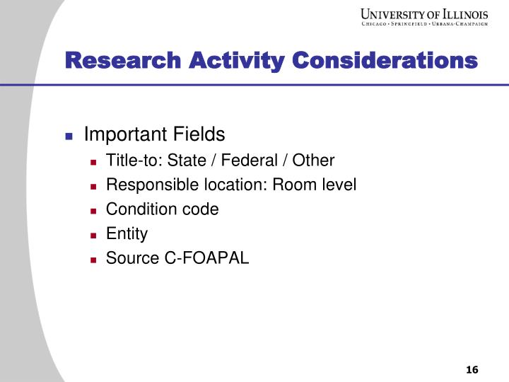 Research Activity Considerations