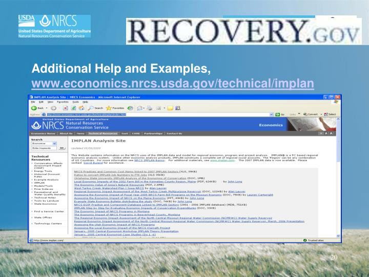 Additional Help and Examples,
