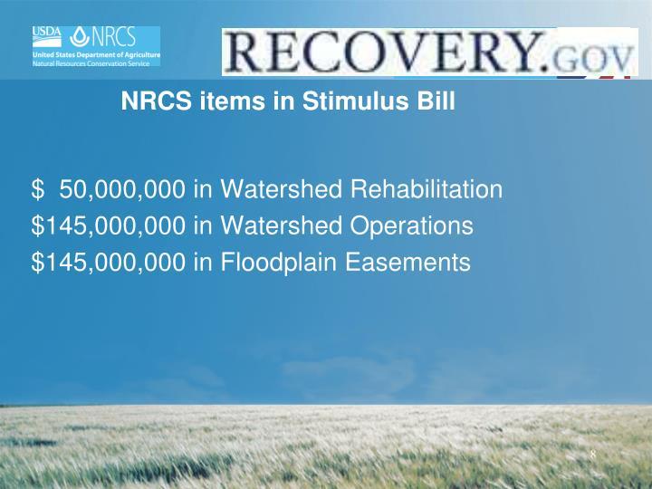 NRCS items in Stimulus Bill