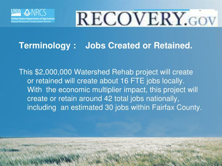 Terminology :Jobs Created or Retained.
